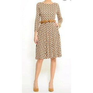 MNG  Collection Marilyn Cat Print Belted dress